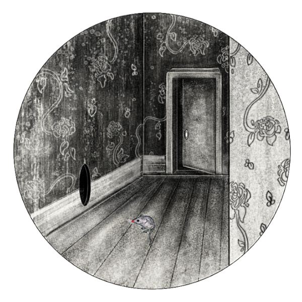 One afternoon, when the mist streaked its fingers over the windows, the mouse's child made a quizzical face and darted into a perfect, round hole in the wall she had never seen before.