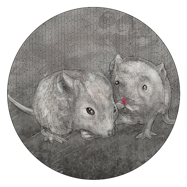 In a house on a hill, mouldering and grim, a mouse and her child held each other close.