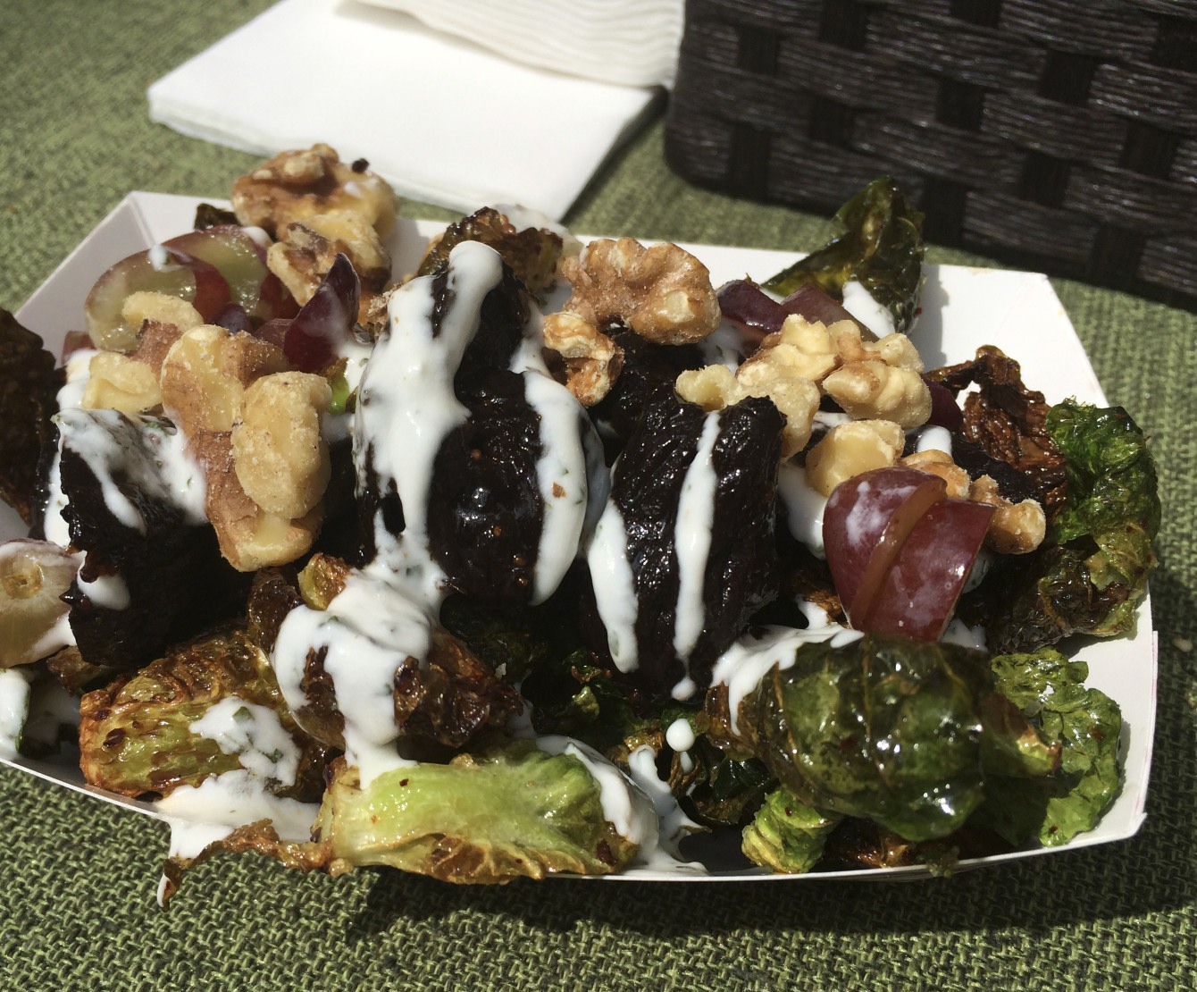 Brussels sprout with mission figs, mint, yogurt, walnuts, and grapes