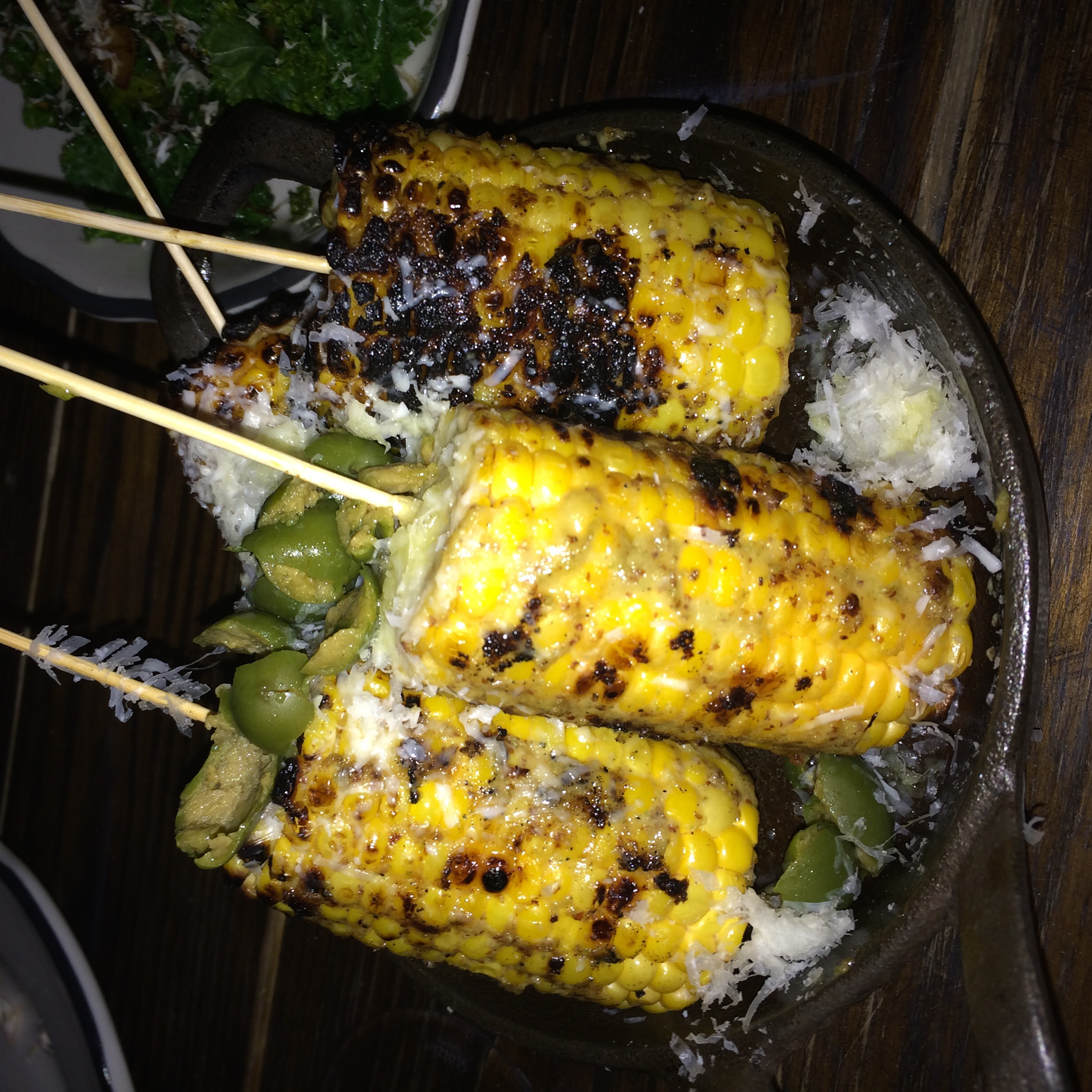 Corn on the cob with jalapeño  CORN ON THE COB - HUITLACOCHE, JALAPEÑO, COTIJA