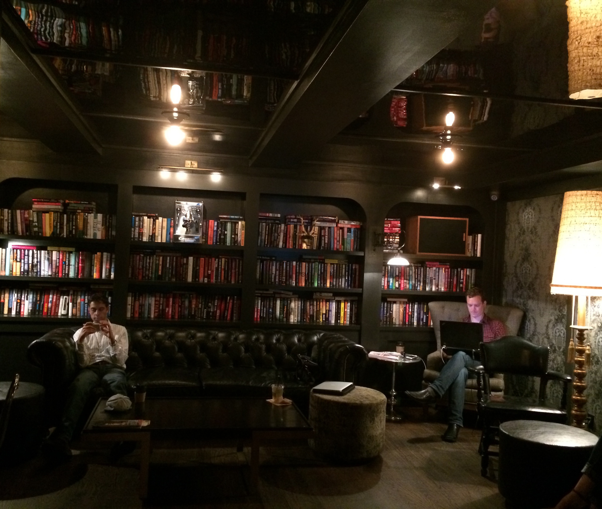 """Cozy """"Library"""" at the back of the cafe"""