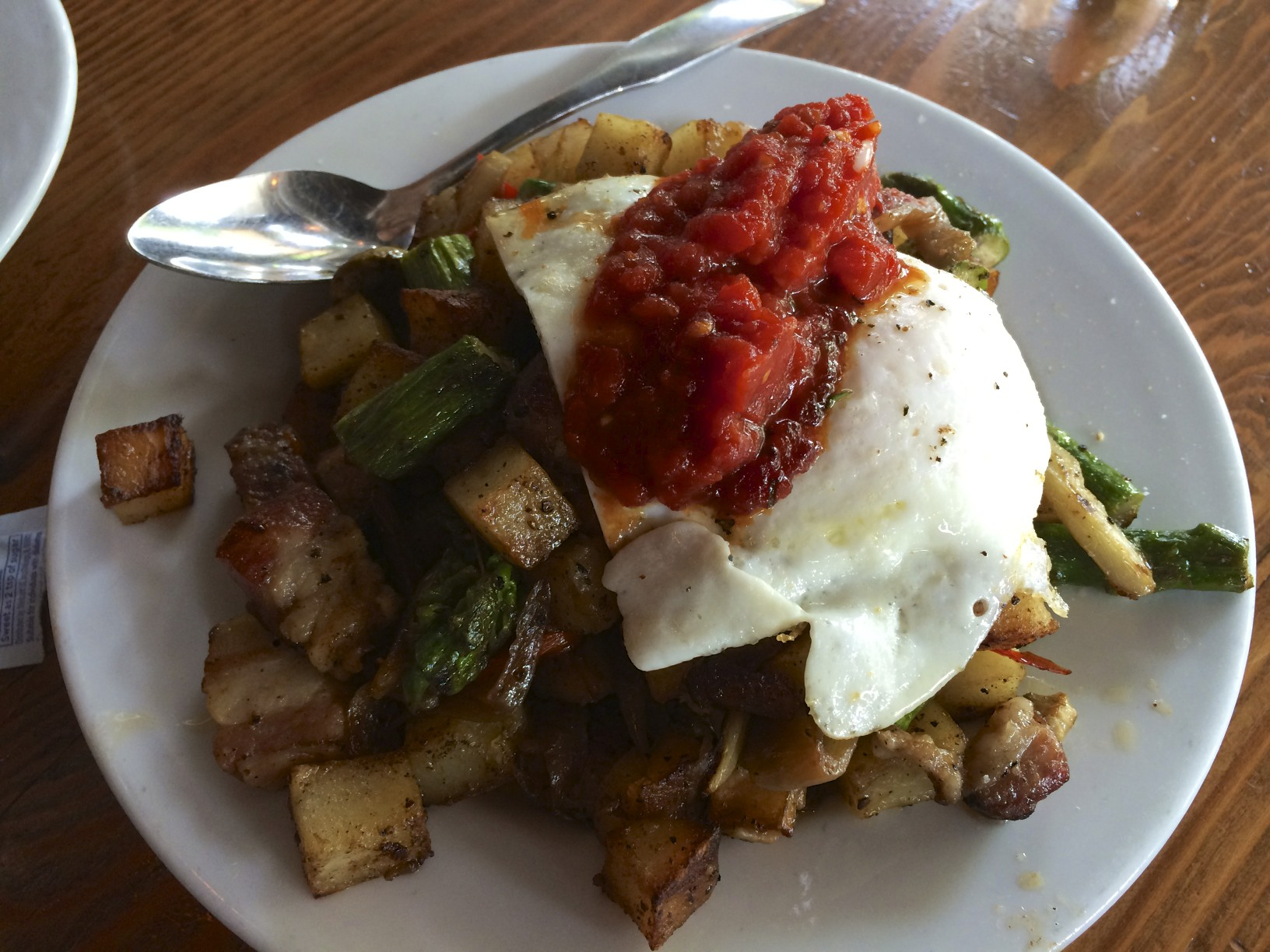Sicilian Hash with braised pancetta, arrabiata and over easy egg