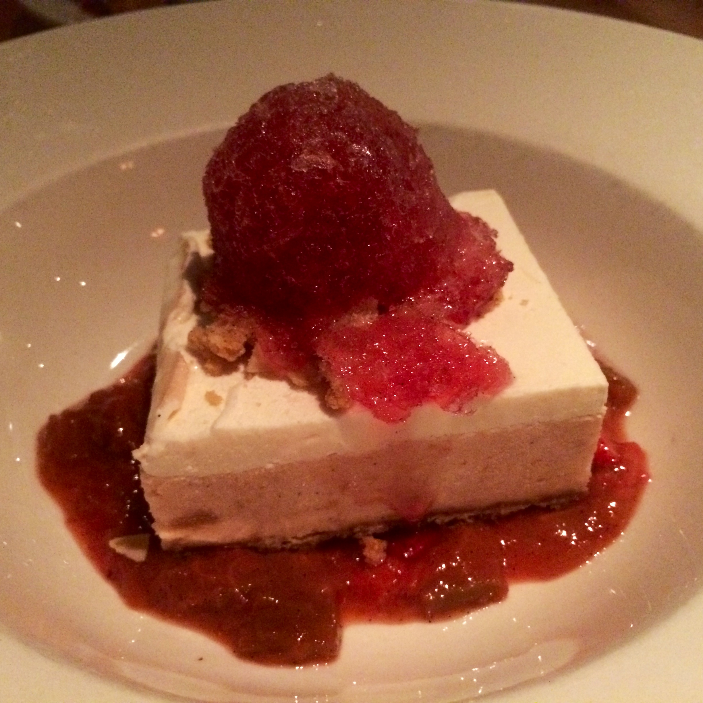 RHUBARB ICE BOX PIE - STRAWBERRY-RHUBARB COMPOTE, ALMOND STREUSEL, BRACHETTO GRANITA