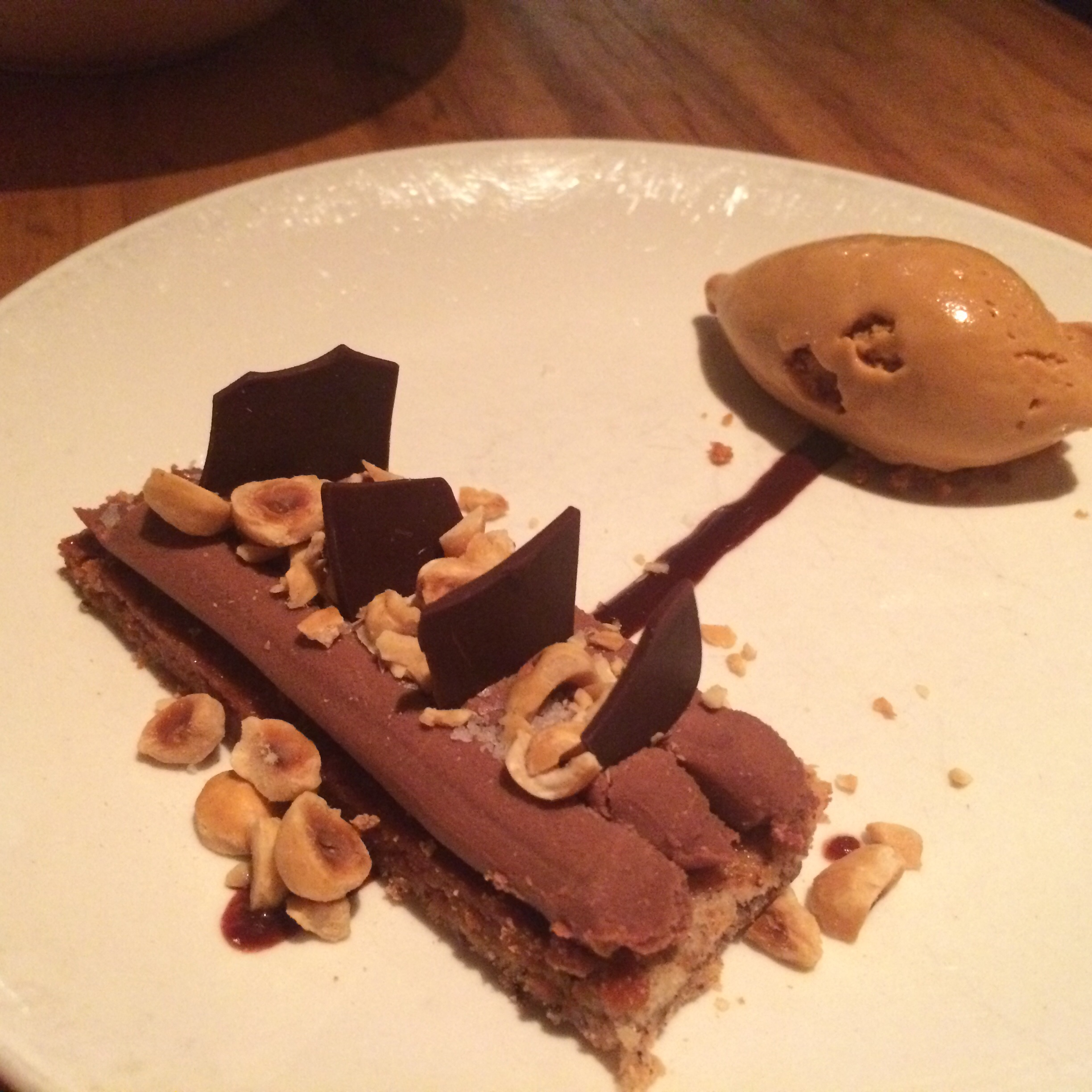 CHOCOLATE HAZELNUT TORTE WITH SALTED CARAMEL GELATO