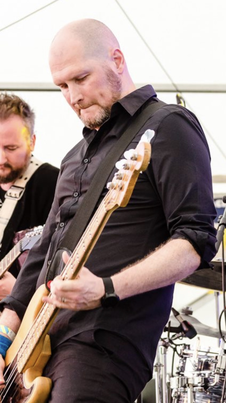 Andy smashing his first gig with The Vaulted Skies at ACB Festival, August 2019. Photo by Brad Wigglesworth.