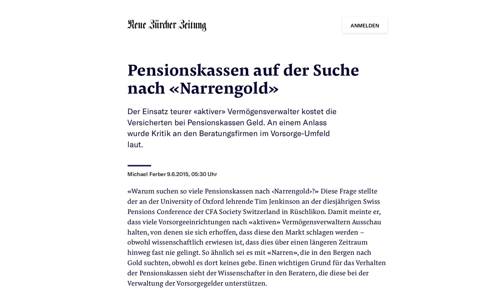 Neue Zürcher Zeitung, 2015