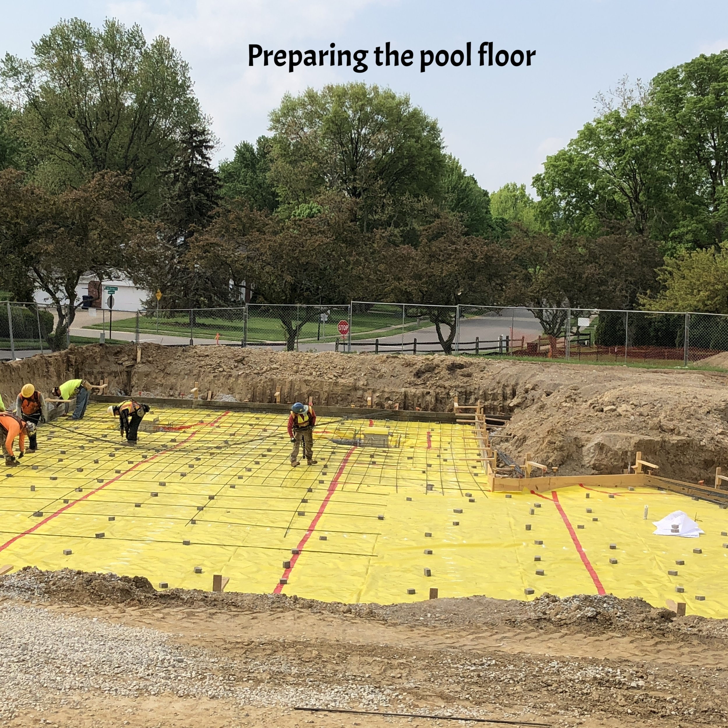 beginning to install the rebar for the floor of the new pool