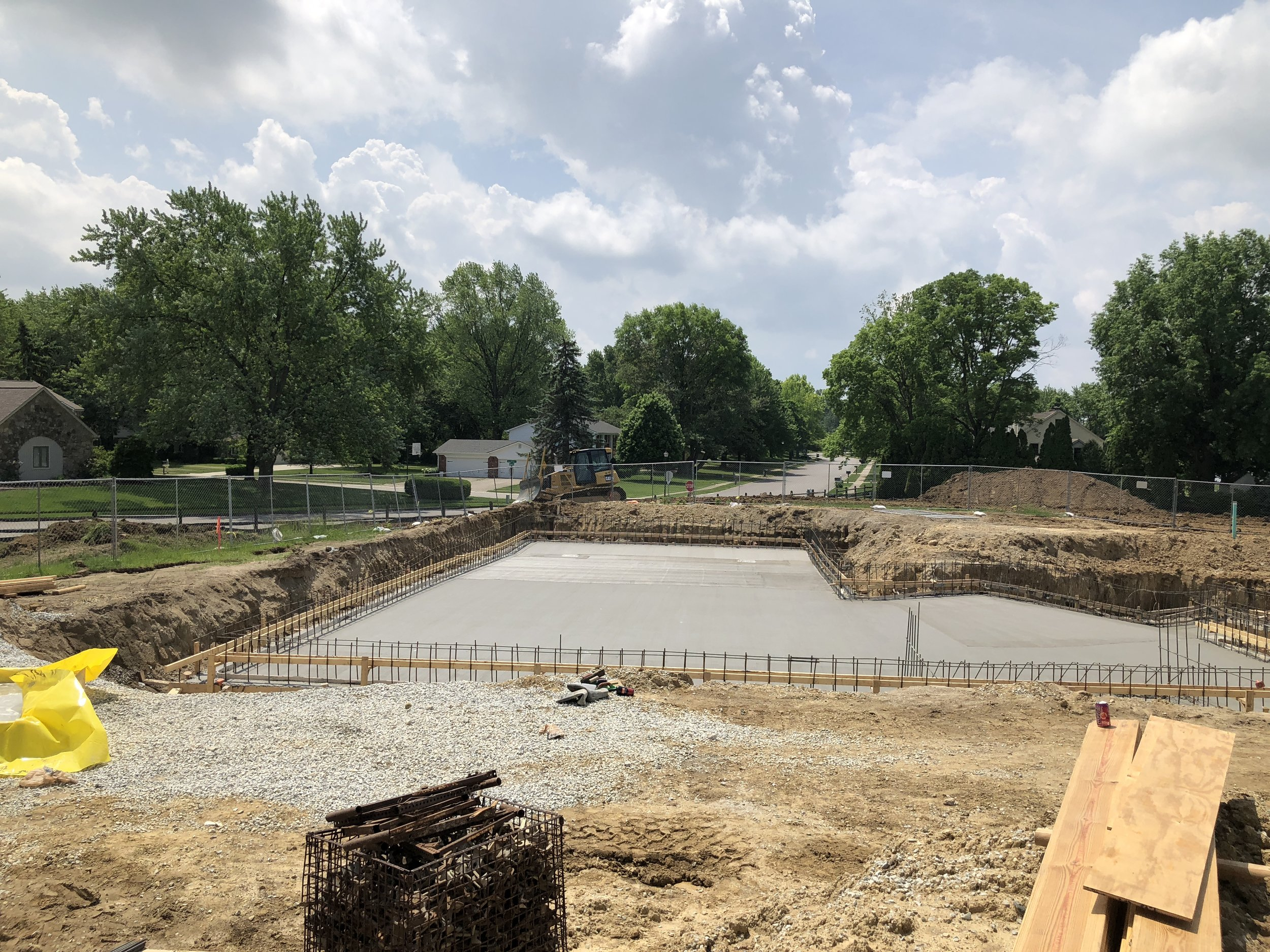 The floor of the new pool - 12 inch thick concrete and steel rebar Poured on 5/22/18