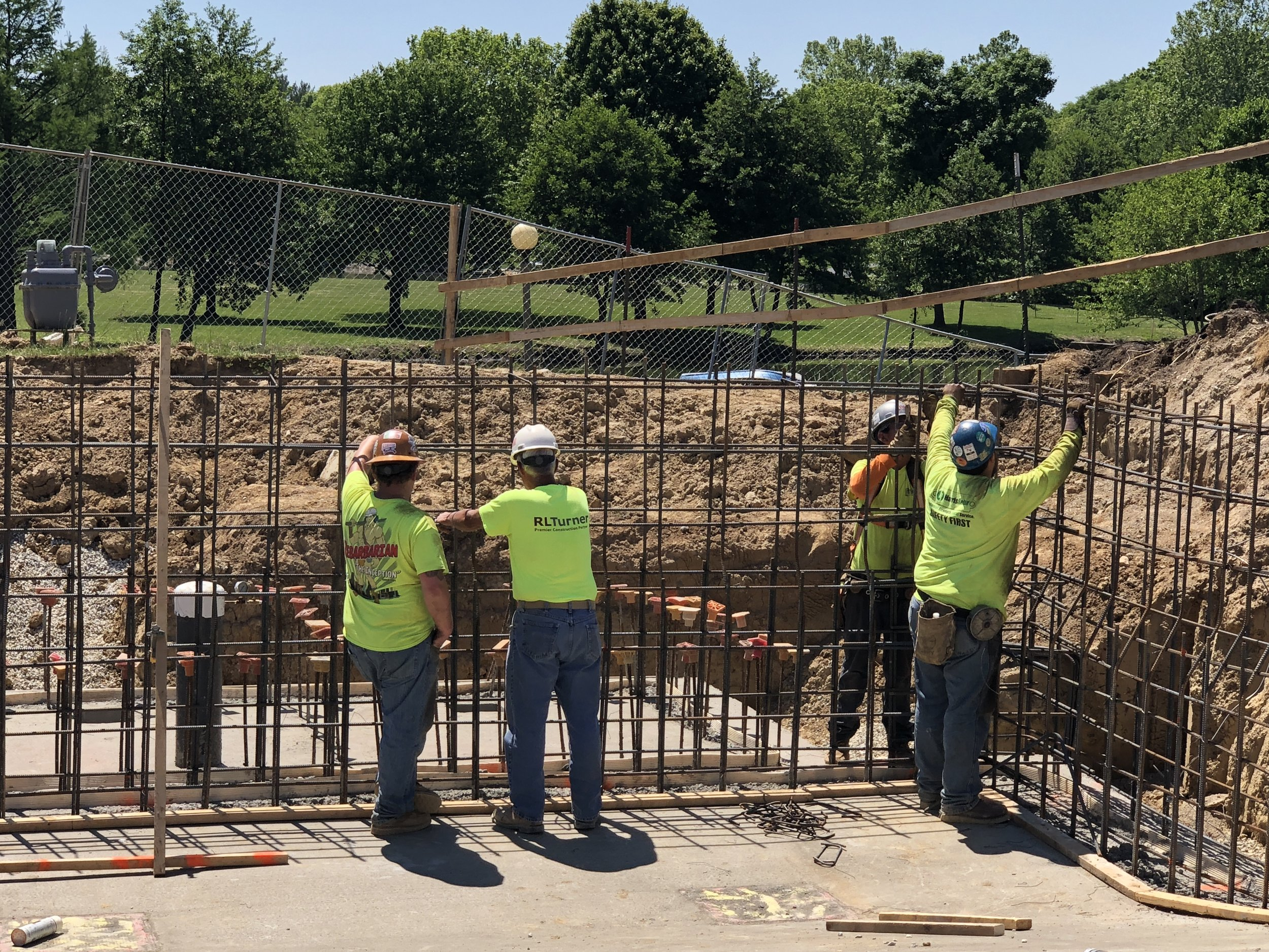 "Installing Rebar at the far end of the ""deep end"" of the pool 5/24/18"