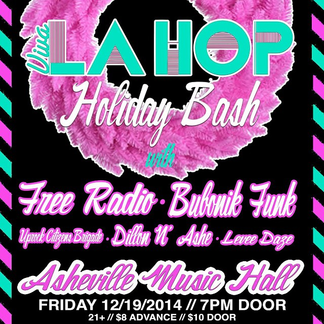 Tomorrow night we are so stoked for the holiday bash with our good friends @vivalahop @levee_daze and @bubonikfunk. #asheville are you #readytofreakinrock!!!