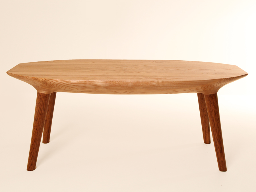 Andrew Wood's Coffee table. The top is made from Olive Ash and the legs are made from Brown Oak.