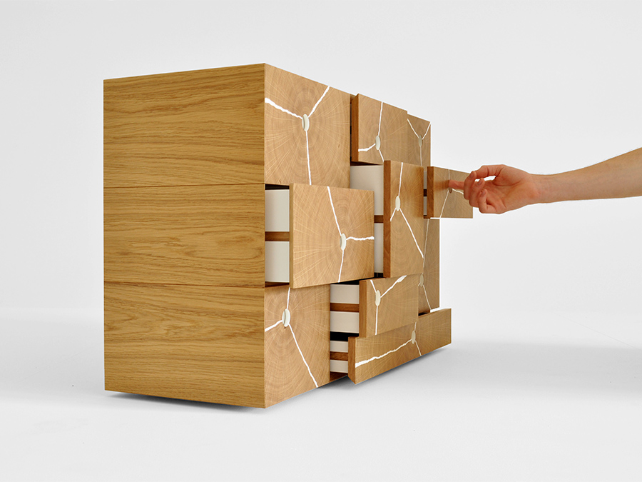 Charles Byron's multi award winning 'Log Stack' cabinet made with English Oak End Grain veneers and white resin fractures.  The 'Log Stack' cabinet was awarded a Bespoke Guild Mark #459 by The Furniture Maker's Company, and was a winner of the Alan Peters Award for Excellence 2015 and the Somerset Guild of Craftsmen Furniture Prize 2015. It has also been featured in Design Milk,Wallpaper Magazine and the Furniture and Cabinetmaking Magazine.