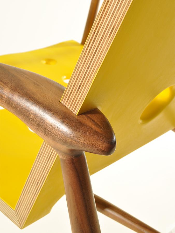 Detail view of Matt Master's striking Walnut and Birch Ply chair.