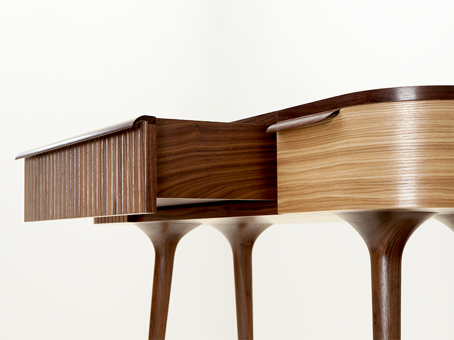 Jan Lennon's American Walnut and Olive Ash 'Meala' dressing table.
