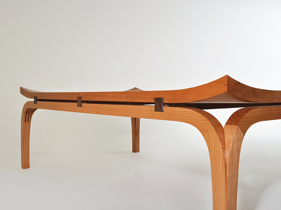 Henry Baltesz' Bundai inspired coffee table in Cherry and Walnut. A Bundai table is a traditional Japanese writing table.
