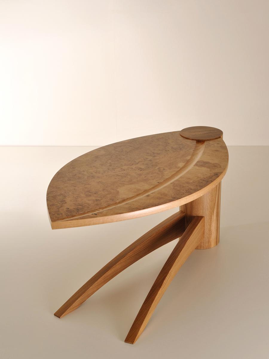 Tim Jenner's leaf style coffee table made in solid Oak and Burr Oak veneer.