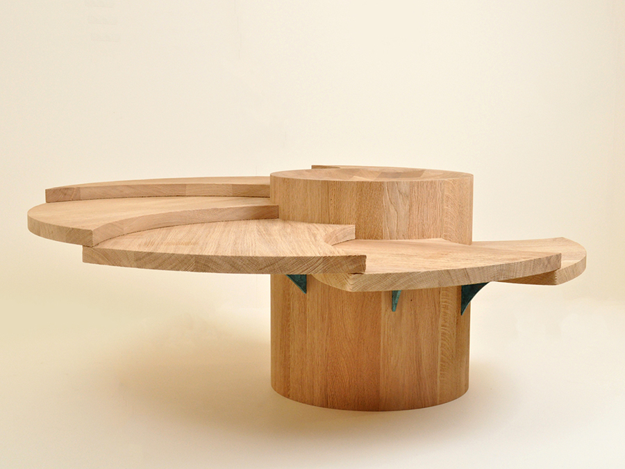 Ali Buchan's award winning Jurassic Coast inspired coffee table made in English Oak with patinated bronze supporting fins. Ali's Jurassic table was a winner of the popular choice award and placed second in the full time student category in the Somerset Guild of Furniture Prize.