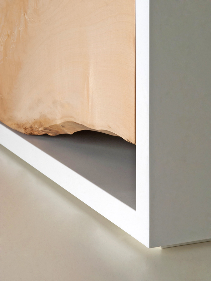 Detail view.Peter Kindt's Waney Edge Chest of Drawers.