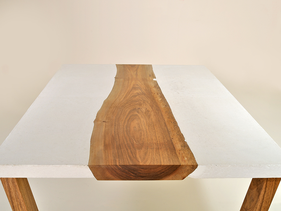 Peter Kindt's fibre reinforced White Concrete and Walnut table, a great example of combining different materials.