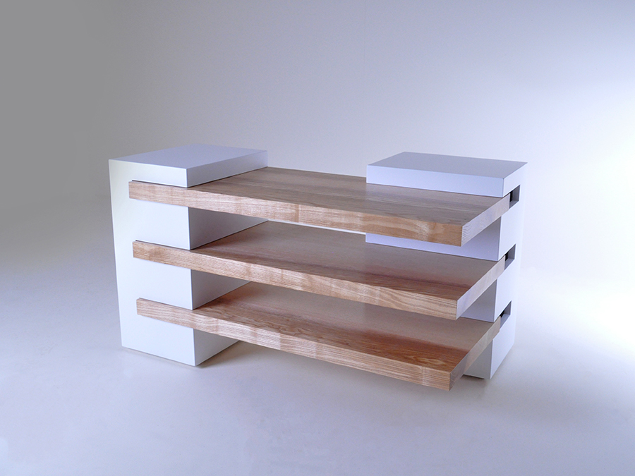 Mike William's media unit, shelves made in Olive Ash .This piece was designed with the intention of being used for different purposes as well as meeting the needs of small batch production.