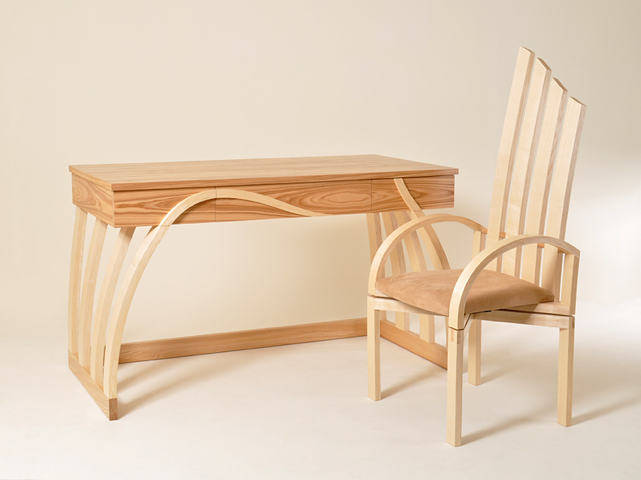 Thomas Whittingham's award winning 'Whinlatter' desk made is Ash and Olive Ash. This desk was one of the winners of the Alan Peters Award at the Celebration of Craftsmanship and Design 2013.