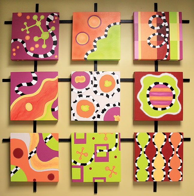 Inner Space  is a light hearted look at biology - molecules, cells, DNA, etc… Created using acrylic on canvas, it is mounted on a steel grid.