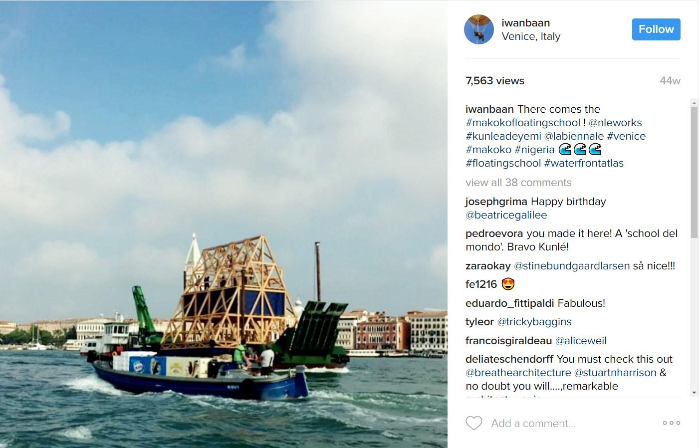 Makoko floating school entering the Venice lagoon for the 2016 Biennale