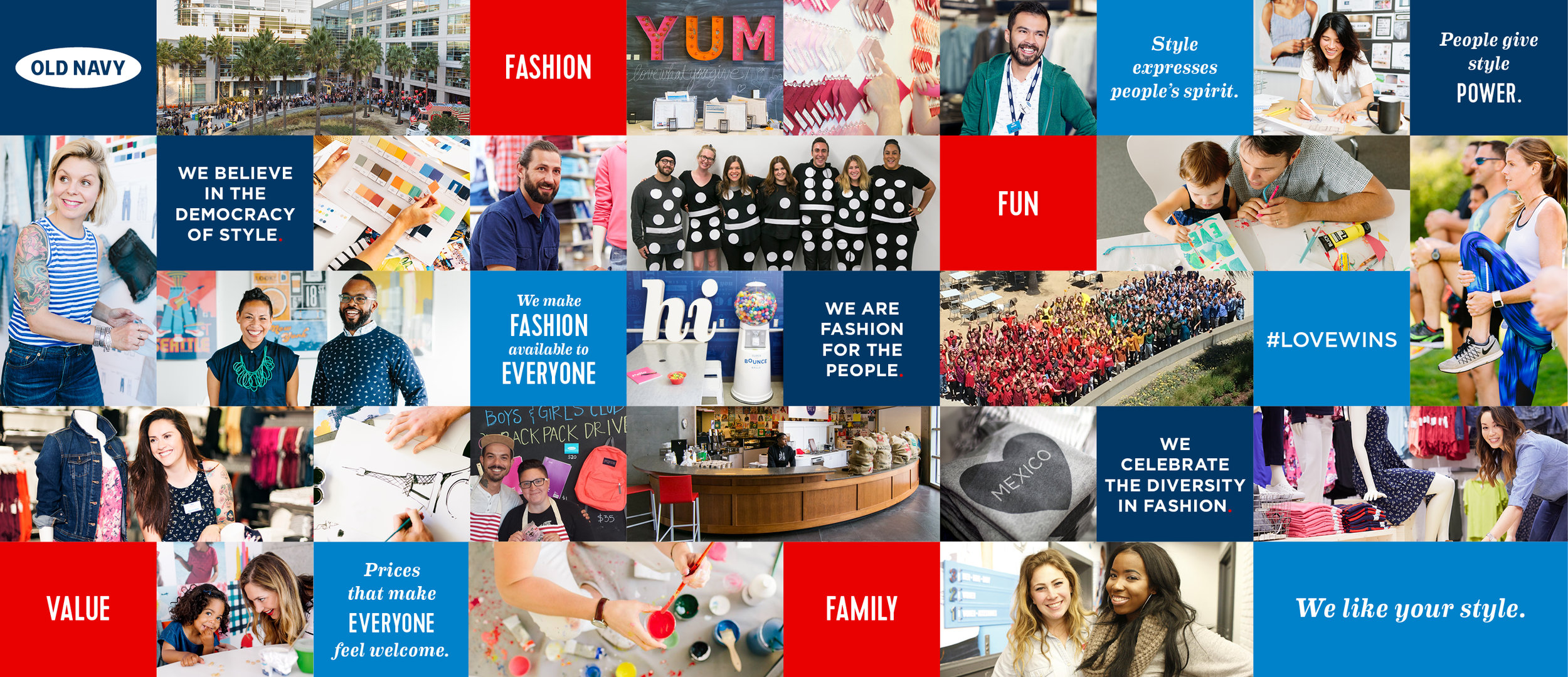 Create + execute visual storytelling strategy that brings Old Navy to life through external and internal global channels. Develop creative campaigns, design concepts and digital communication platforms that meet business objectives + advance brand strategy. Create, develop and oversee the execution of social media + digital initiatives including development of campaigns, content creation and driving engagement across multiple channels including Web, social and mobile.