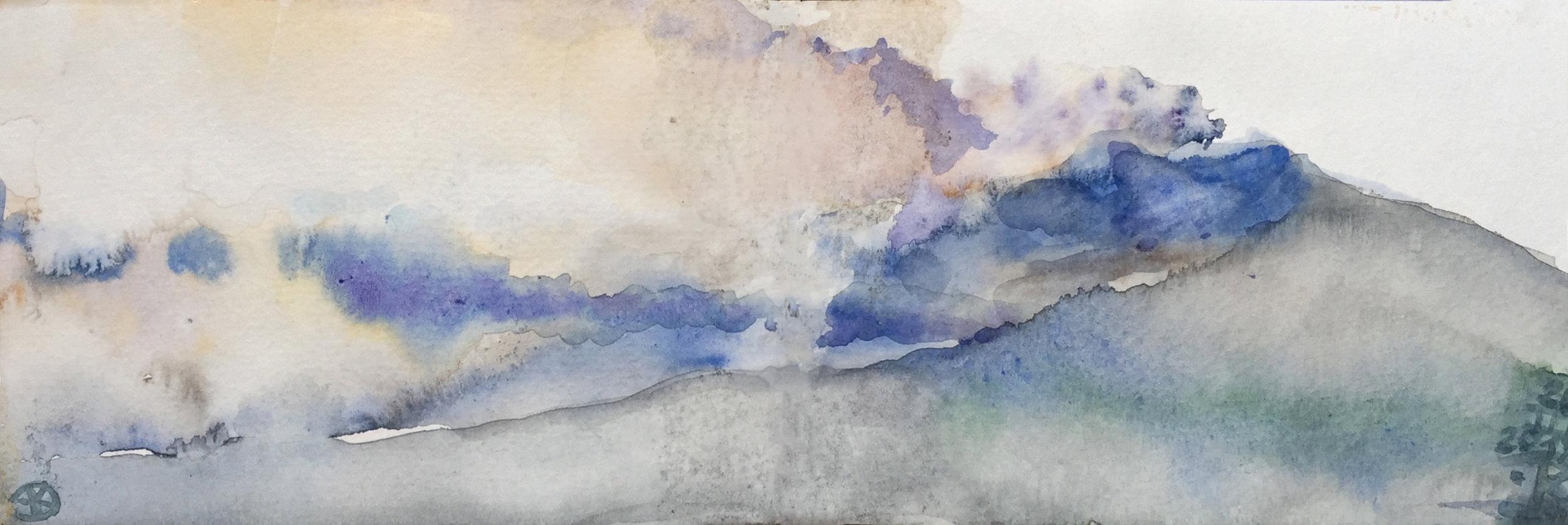 Etna II 2017, watercolour 9 x 28 cm