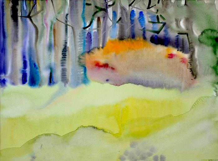 Skraj lasu z ognistym krzewem
