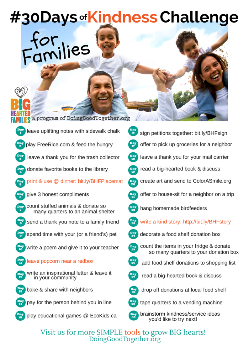 #30Days of Kindness Challenge for Families