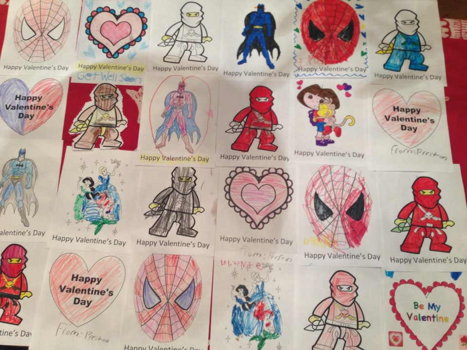 Create Valentine's Day cards for a nursing home or children's hospital.