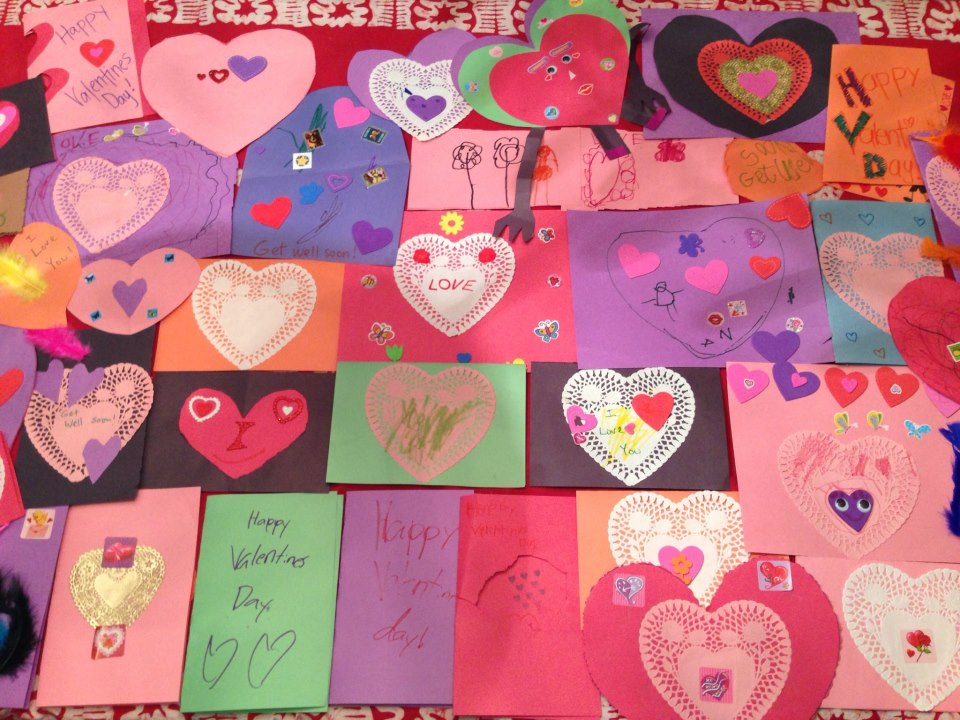 Create Valentine's Day Cards for a nursing home or children in a hospital.