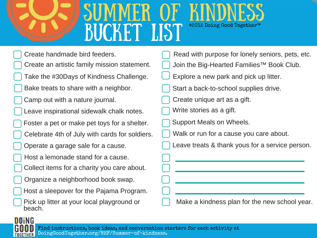 Printable Summer of Kindness Bucket List from Doing Good Together