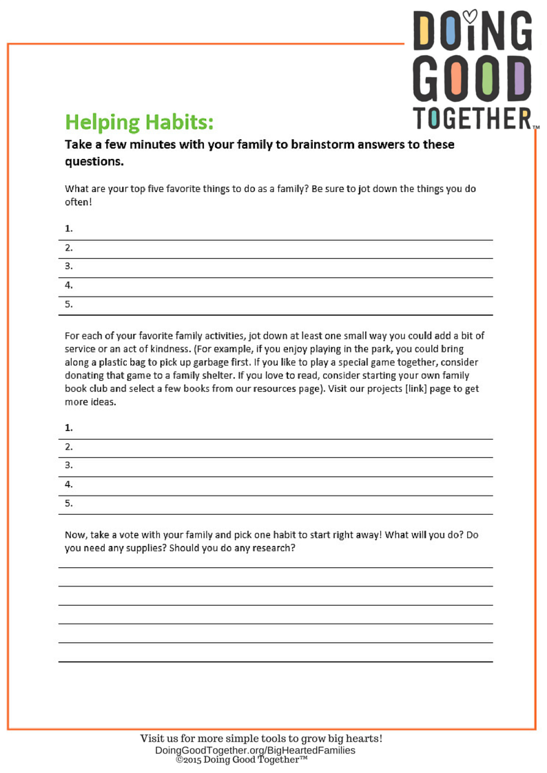 Worksheets to start your family kindness practice