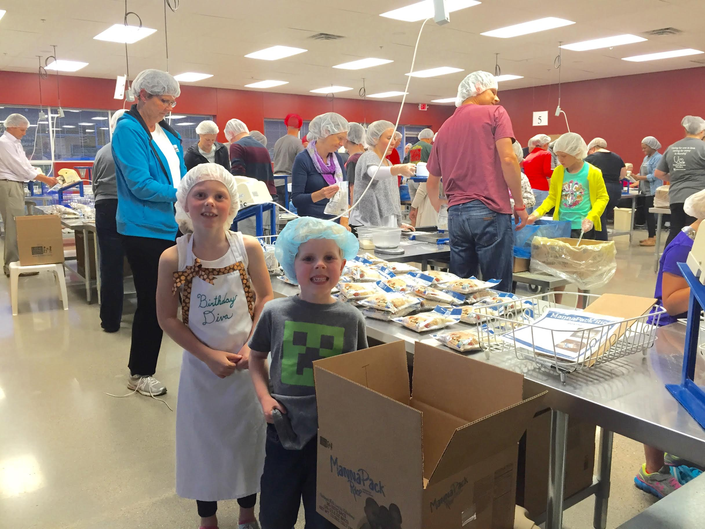 Mercedes chose to celebrate her 8th birthday with friends at the Feed My Starving Children site in Chanhassen, Minnesota.