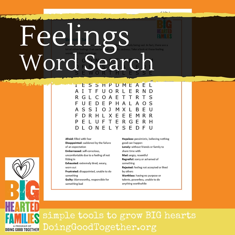 The Nuances Of Emotion And Language >> Feelings Word Search Doing Good Together