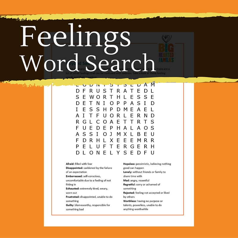 Feelings Word Search