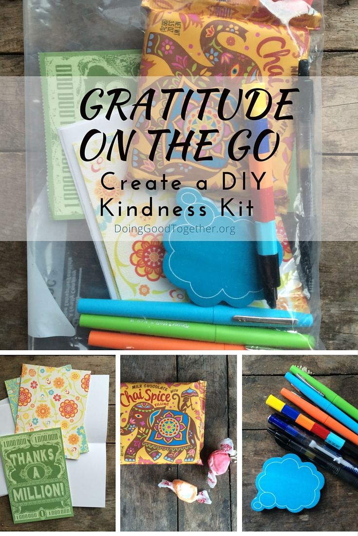Keep a kit stocked with candy, blank cards, stickers, and colorful pens and markers for on-the-go thank you notes.