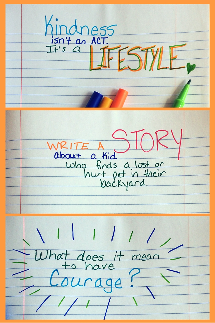 Kindness Prompts for a family journal.