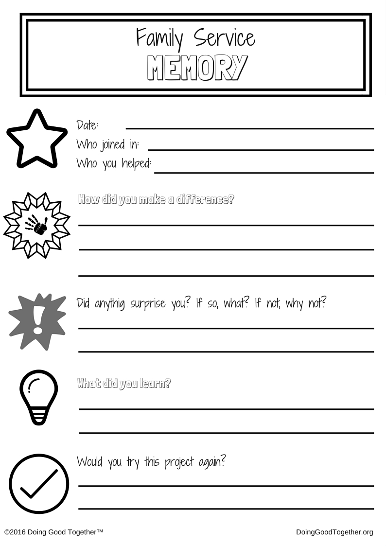 Family Service Memory Journal printable for your family kindness journal.