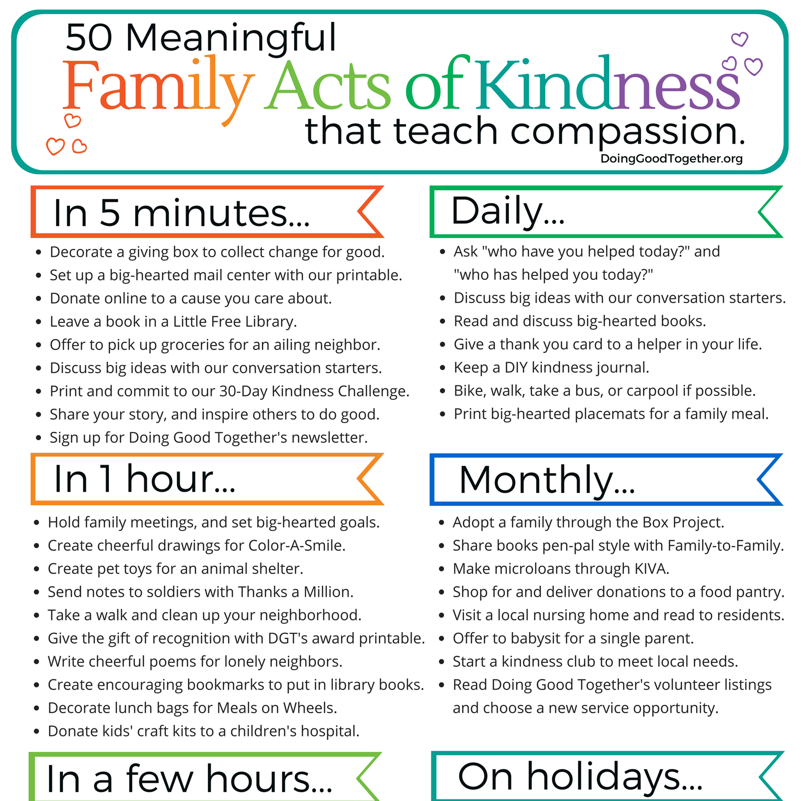Printable Family Acts of Kindness