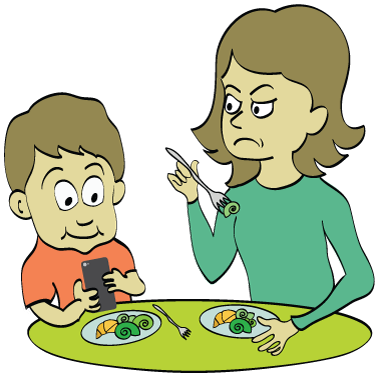 Child texting at dinner table