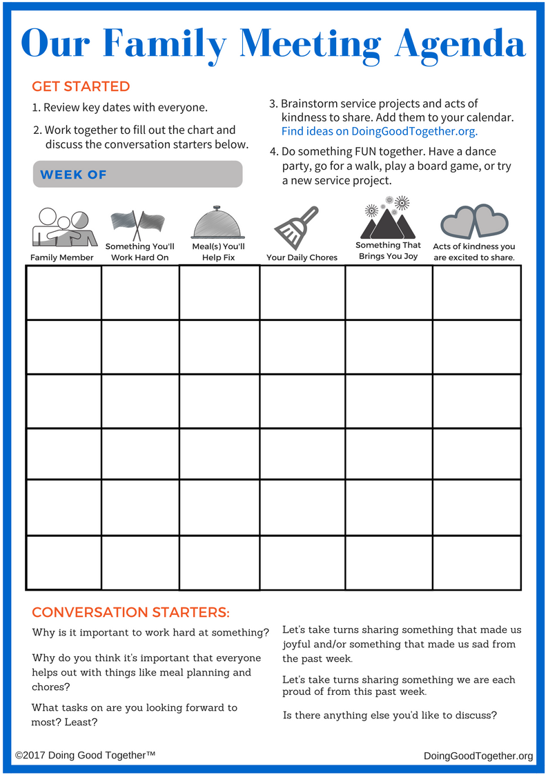 Click to print Doing Good Together's family meeting template.