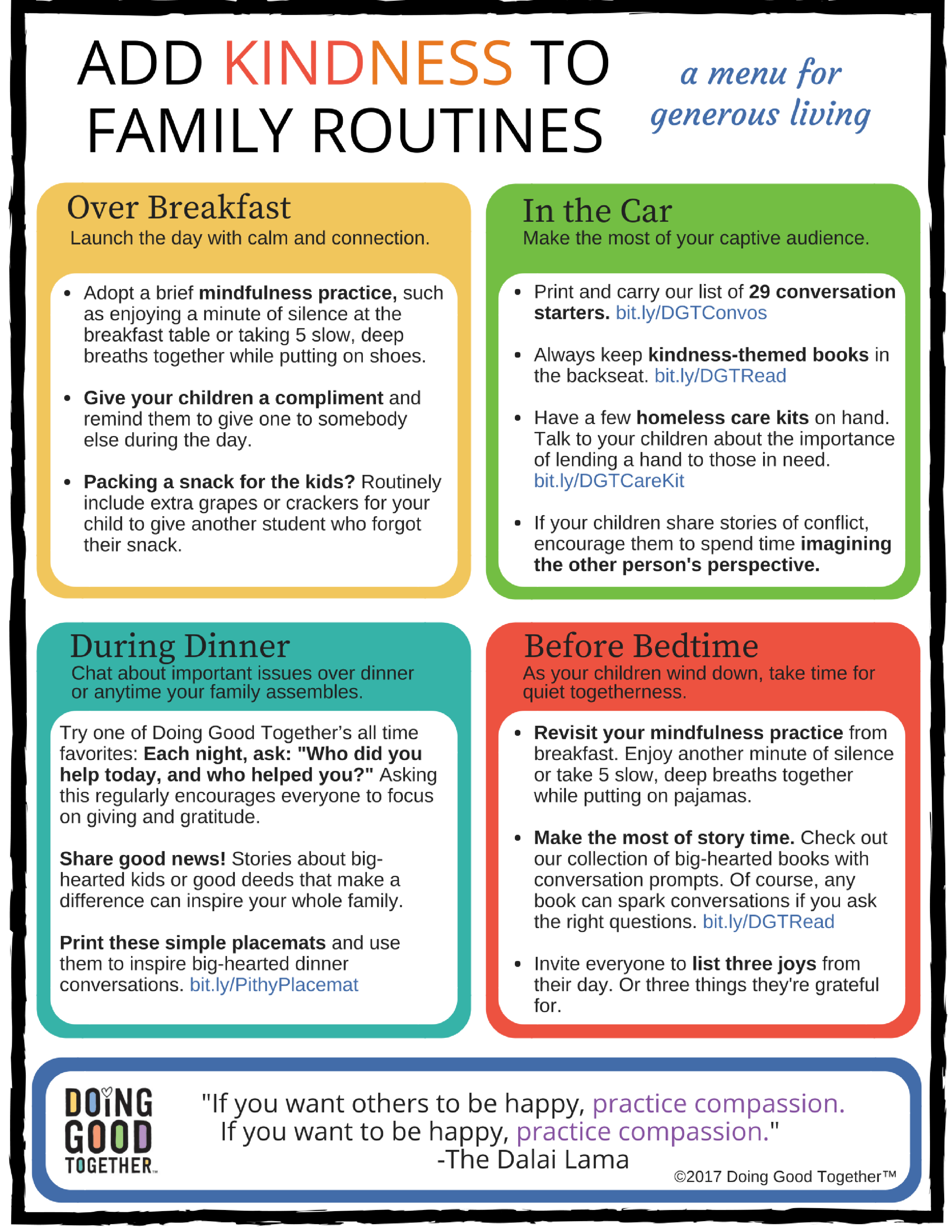Click to print Doing Good Together's two-page menu for living generously.