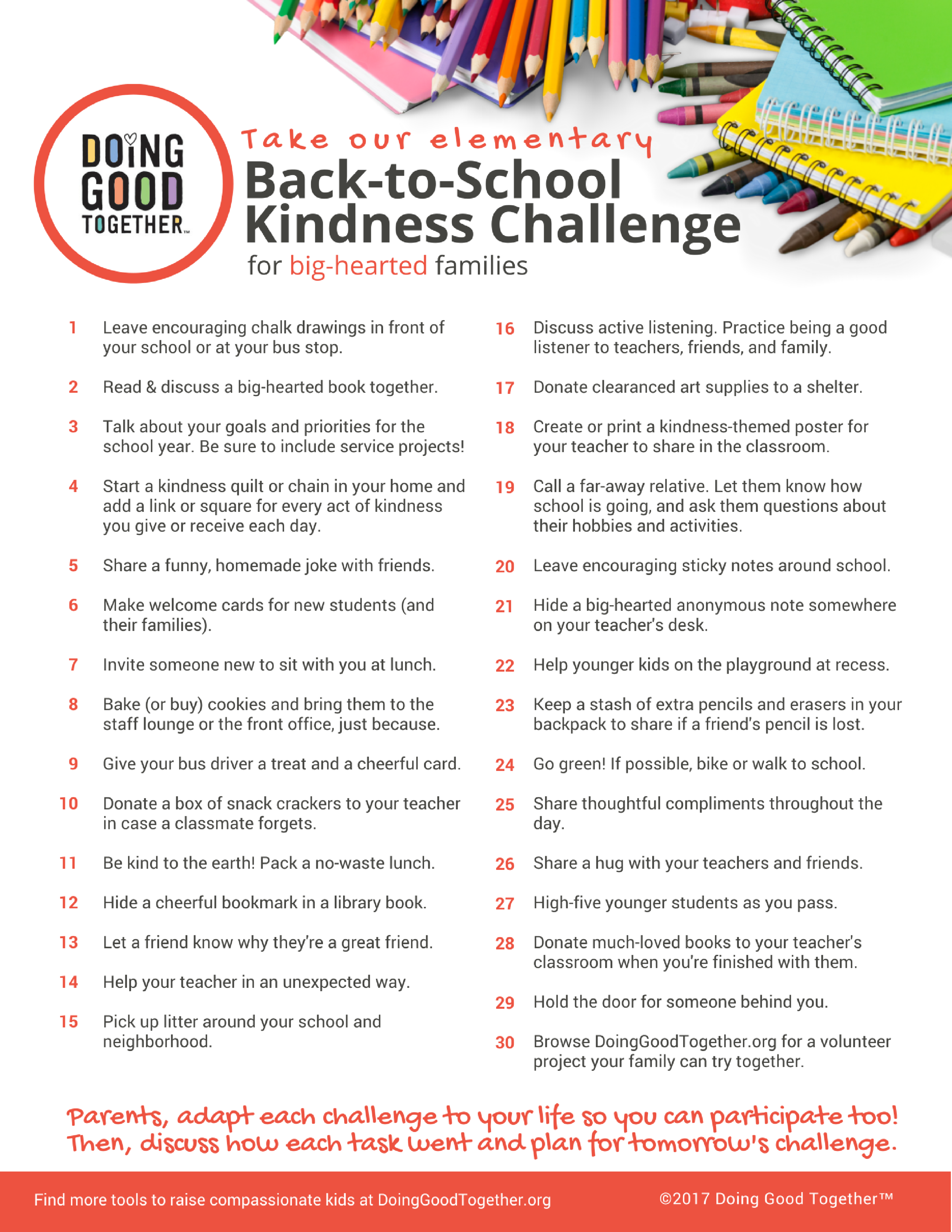 Click to print the elementary challenge.