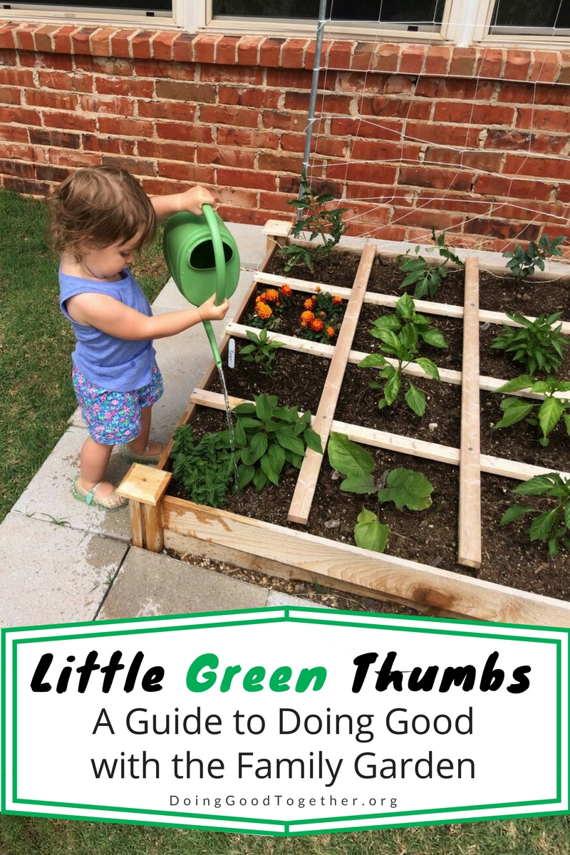 Big-Hearted Families Member Audrey shared this adorable photo of her little gardener tending their first family garden.