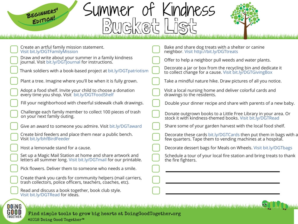 Print and enjoy this Summer of Kindness Bucket List from Doing Good Together.