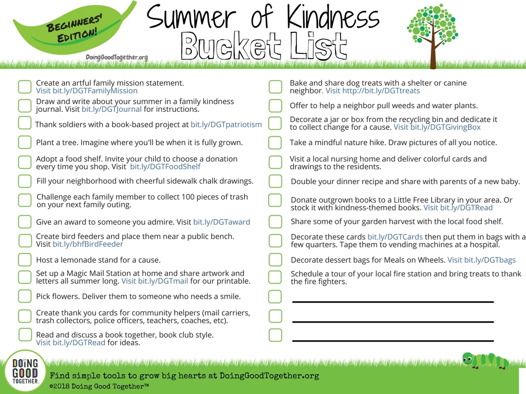 Parents of young children, print this version to start making memories - and a difference!
