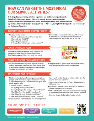 Print DGT's reflection guide when you  volunteer together.  Also,  click here  for our complete list of reflection guides.